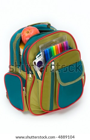 The backpack of the schoolboy filled with a stationary