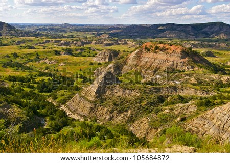The Badlands of Theodore Roosevelt National Park - stock photo