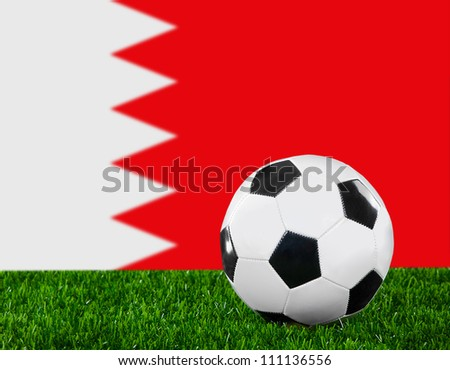 The Bahraini flag and soccer ball on the green grass