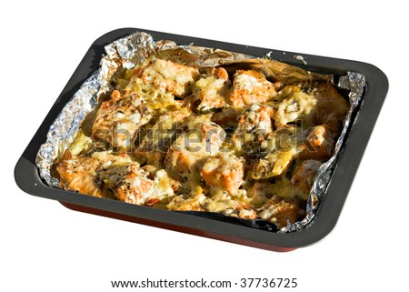 The baked trout with vegetables and cheese