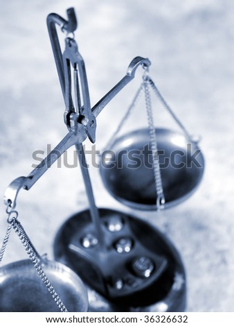 The Balance of Justice in cold blue tone - stock photo