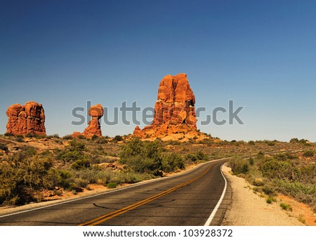 The Balanced rock at arches national park - stock photo