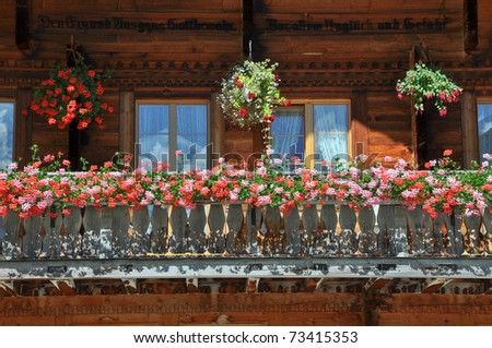 The balcony of an old farm house in Austria - stock photo