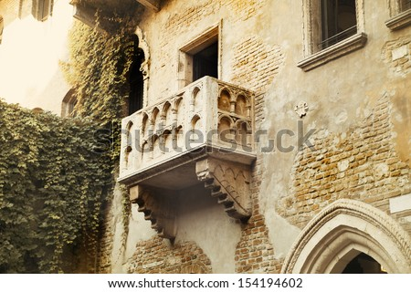 The balcony of Romeo and Juliet in Verona, Italy - stock photo