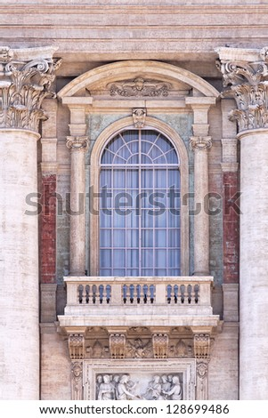 The balcony of Saint Peters Basilica in Vatican - stock photo