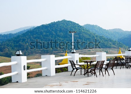 THe balcony with chair in thailand - stock photo