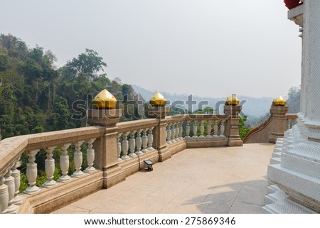 the balcony with mountain view of asian temple - stock photo