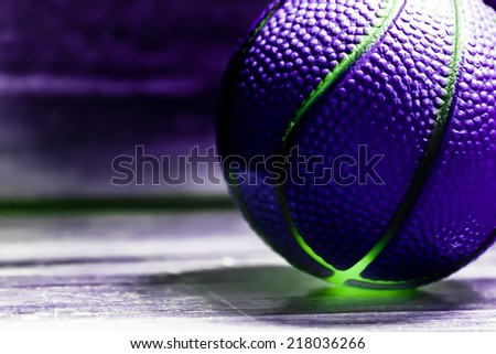 the balls on a wooden floor with light effect - stock photo
