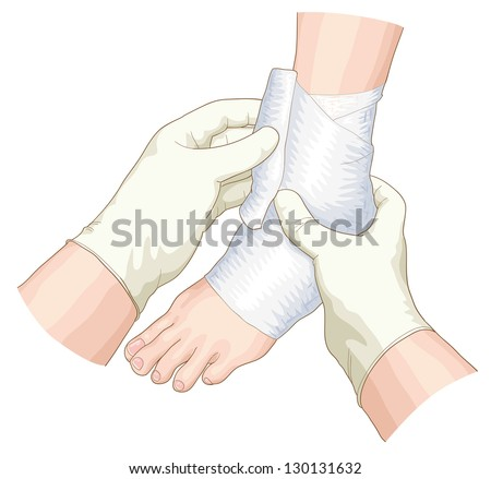 The bandage on the joint. Raster version. - stock photo
