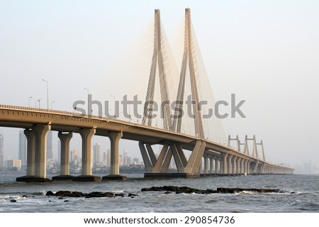 The Bandra-Worli Sea Link, officially called Rajiv Gandhi Sea Link, is a cable-stayed bridge that links Bandra in the Western Suburbs of Mumbai with Worli in South Mumbai. - stock photo