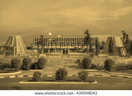 The Bank of Central African States BEAC is the central bank of the Economic and Monetary Community of Central Africa - vintage sepia look