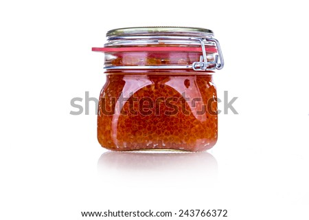 the bank of red caviar - stock photo