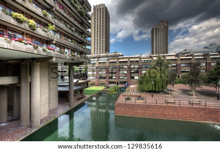 The Barbican Center in London, one of the most famous examples of Brutalist archiecture to be found. - stock photo