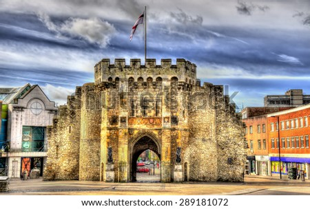 The Bargate, a medieval gatehouse in Southampton, England - stock photo