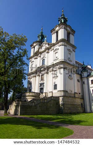 The baroque church of Sts. Michelangelo and Stanislaus - Skalka church in Krakow, Poland.