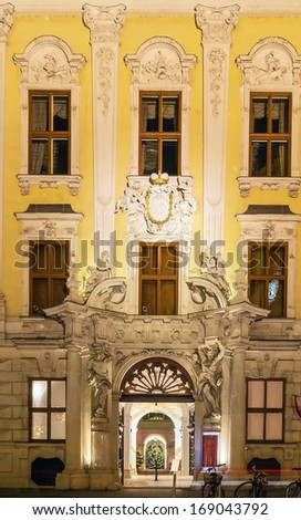 the Baroque facade of the Palace in Vienna - stock photo