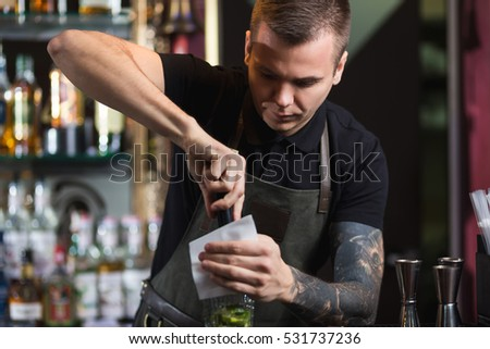 The bartender making cocktail Mojito in a nightclub bar
