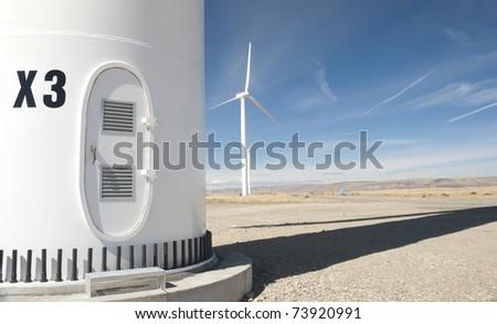 the base of a wind turbine - stock photo