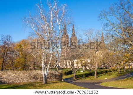 The Basilica and Royal Collegiate Church of St. Peter and St. Paul in Vysehrad (upper castle)  fortress, Prague, Czech republic