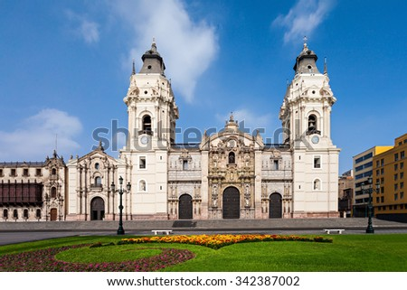 The Basilica Cathedral of Lima is a Roman Catholic cathedral located in the Plaza Mayor in Lima, Peru - stock photo