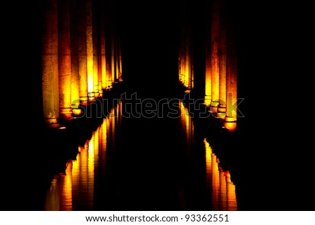 The Basilica Cistern is the largest of several hundred ancient cisterns that still lie beneath the city of Istanbul, former Constantinople, Turkey. - stock photo