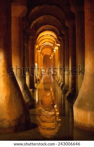 The Basilica Cistern (Turkish: Yerebatan Sarayi - Sunken Palace). Istanbul sketches series. Imitation of drawing - stock photo
