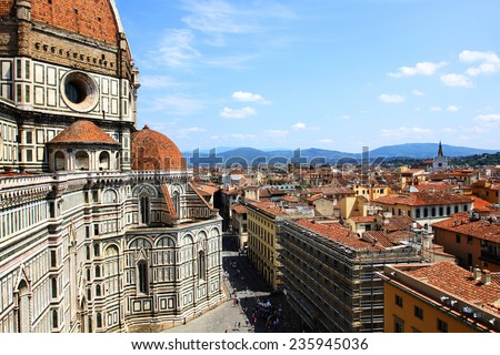 The Basilica di Santa Maria del Fiore (Basilica of Saint Mary of the Flower) in Florence, Italy  - stock photo