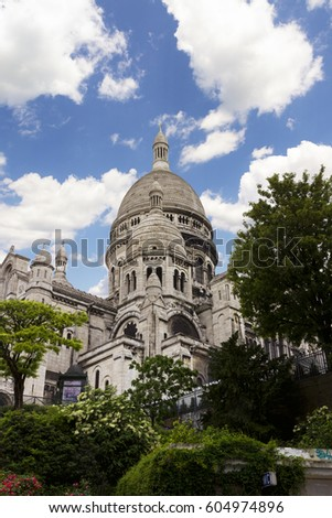 The Basilica of Sacre-Coeur, Montmartre. Paris. Sacre Coeur Cathedral on Montmartre Hill, Paris. France.