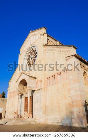 The basilica of San Zeno Maggiore, in Verona, Veneto, Italy - stock photo