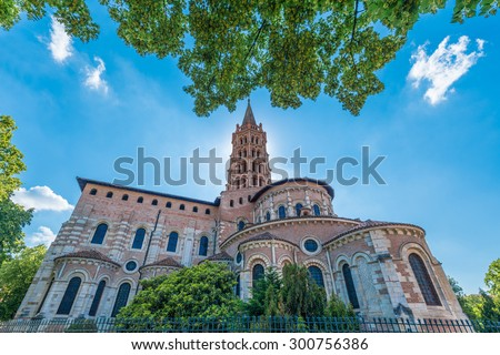 The Basilica of St. Sernin, built in Romanesque style between 1080 and 1120 in Toulouse, Haute-Garonne, Midi Pyrenees, southern France. - stock photo