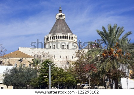 The Basilica of the Annunciation in Nazareth, Israel. This church was built on the site where according to Tradition was the home of the Virgin Mary - stock photo