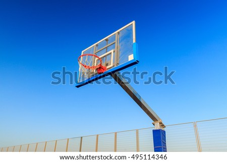 The basketball board on blue sky background