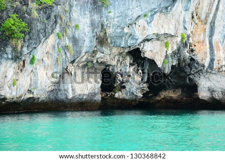 The bat cave on the island in the south of Thailand