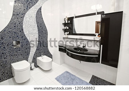 the bathroom in black and white style and a beautiful mosaic - stock photo