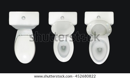 The bathroom toilet, after cleaning the toilet bowl. Isolate in a black background. - stock photo