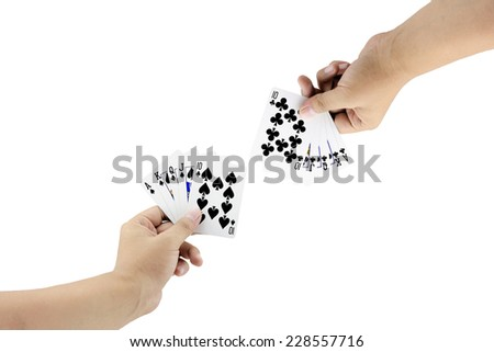 The battle between Royal Straight Flush of spade and Royal Straight Flush of clubs in poker game on white background,Focused on card - stock photo