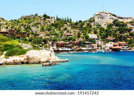 The bay and castle in Kekova, Turkey - stock photo