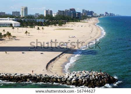 The beach and skyscrapers of Fort Lauderdale, Florida. - stock photo