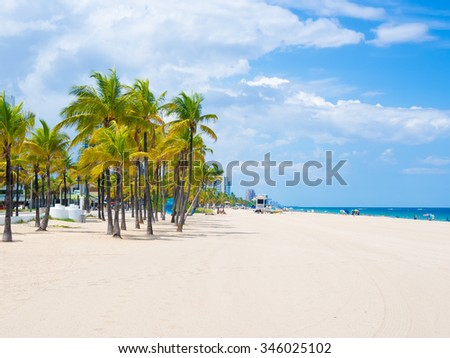 The beach at Fort Lauderdale in Florida on a beautiful sumer day - stock photo