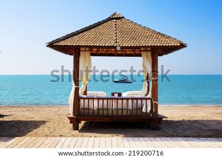 The beach at luxury hotel, Antalya, Turkey - stock photo
