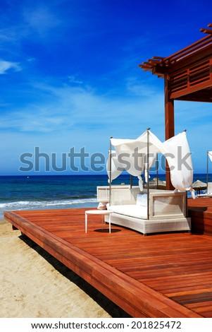 The beach at luxury hotel, Crete, Greece - stock photo