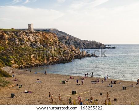 The beach Ghajn Tuffieha, Malta - stock photo