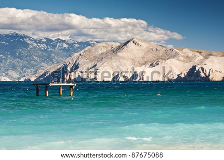 the beach in city Baska on island Krk - Croatia - stock photo