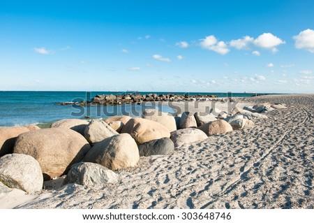 The beach in Skagen in Denmark at summer - stock photo