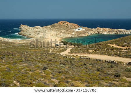 The beach of Agios Sostis in a little bay of Serifos island, Greece