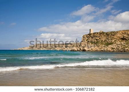 The beach of Ghajn Tuffieha Bay in Malta - stock photo