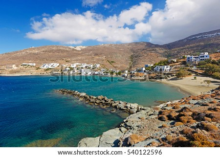 The beach of the picturesque village Isternia in Tinos island, Greece