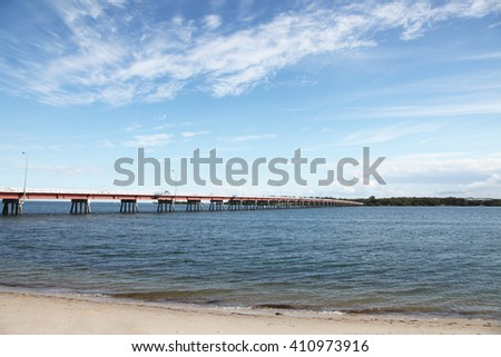 The beach on beautiful sunny Bribie Island, Queensland, Australia - stock photo