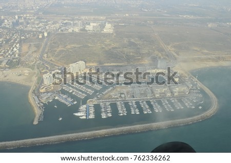 The beach, the port of Tel-Aviv from a bird's eye view