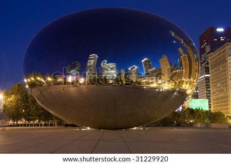 The Bean in Downtown Chicago at night - stock photo